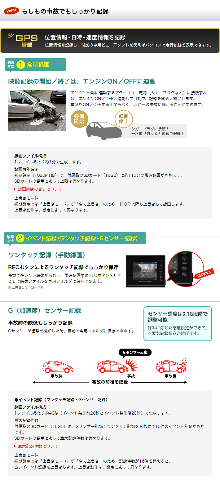 Full HD ドライブレコーダー dry-as410wgc