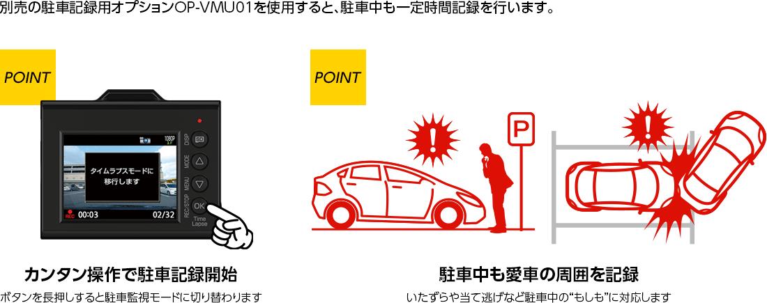 ドライブレコーダー SN-TW9500dP 駐車中も記録