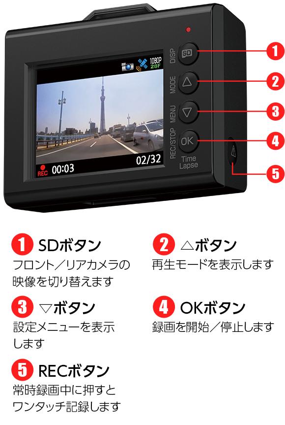 ドライブレコーダー SN-TW9500dP 操作簡単!