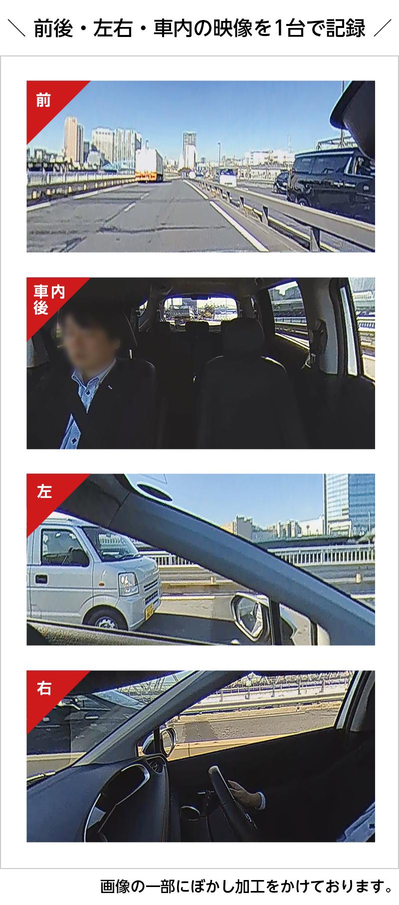前後・左右・車内の映像を1台で記録 Q-20P