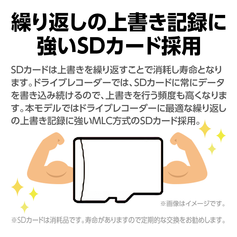 ドライブレコーダーSN-ST3200P 繰り返しの上書き記録に強いSDカード採用