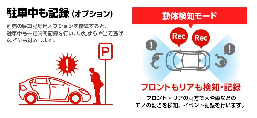 前後2カメラドライブレコーダーY-300c  駐車中も記録(オプション)