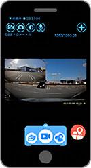 スマートフォンやタブレットから映像確認 ドライブレコーダー Y-400di